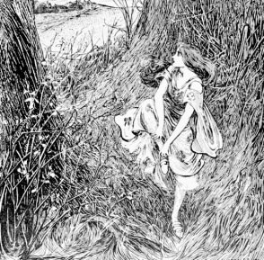 Woman in thicket. Stratton. Andersen Fairy Tales. 1899 (USPD. pubdate, artist life/Commons.wikimedia.org)