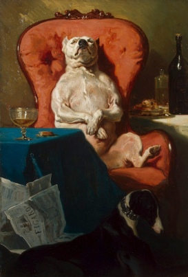 Dog in an arm chair. 1857 painting by Alfred de Dreux (USPD. artist life, reprod of PD art/Commons.wikimedia.org)