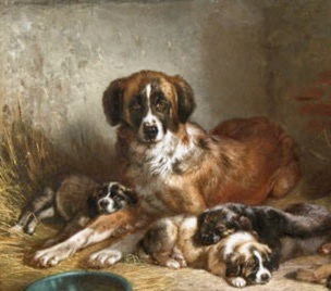 Dog. Bermese Mountain Dog and her pups, 1862, painting by Adam (USPD. artist life, reprod of PD art/Commons.wikimedia.org)