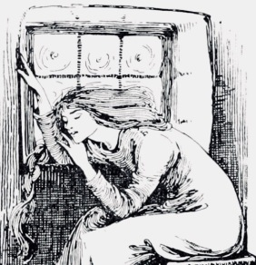 Woman by window. 1899 Stratton illustration for Anderson's Fairy Tales (USPD. artist life, pub.date/Commons.wikimedia.org)