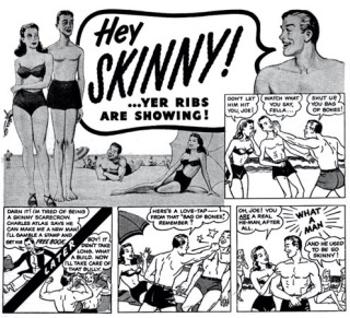 People at beach. 1953 Charles Atlas Body building ad. (USPD. pub.date/Commons.wikimedia.org)