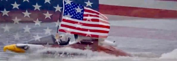 Patriotic eagle boat with flag. (Shark image seabreacher.com)