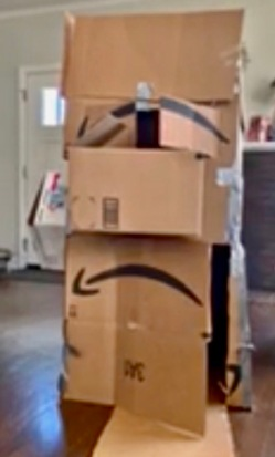Fort out of Amazon boxes. (© image. copyrighted. NO permissions granted. All rights reserved)