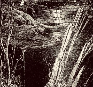 Night Landscape with waterfall . Fairy Tale. 1916 Batten illustration.(USPD pub.date, artist life/Commons.wikimedia.org)