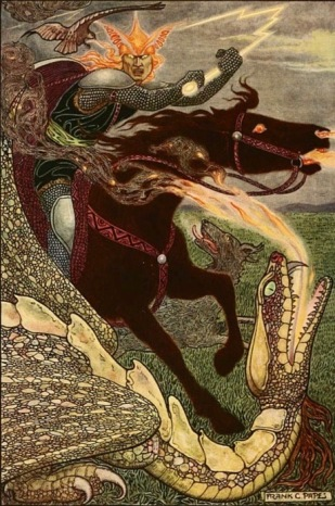 She came in like an avenging angel. Only her horse was black and the dragon was of her own making. Fairy Tale Russian. 1916. Falcon the Hunter. ill. Pape (USPD. pub.date, artist life/Commons.wikimedia.org)