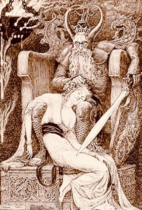 1921. Demon and woman. From Jurgen, a Comedy of Justice.ill.Pape (USPD. pub.date, artist life/Commons.wikimedia.org)