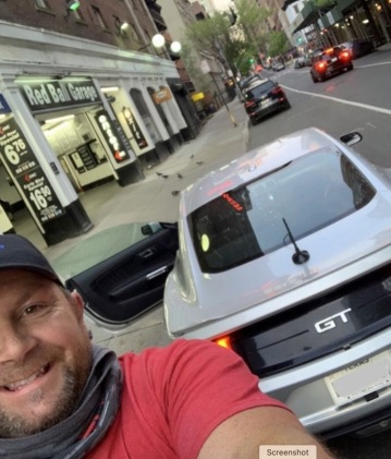 Man and car. Fred Ashmore taking a selfie at the Red BAll garage in NYC getting ready to start his Cannonball run. (Image by Fred Ashmore in Road and Track)
