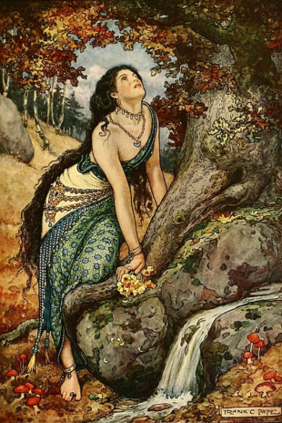 """Woman looking up at tree. """"come down cried the hero's wife"""" Russian Fairy Story Book, 1916. ill. Pape (USPD. pub.date, artist life/Commons.wikimedia.org)"""