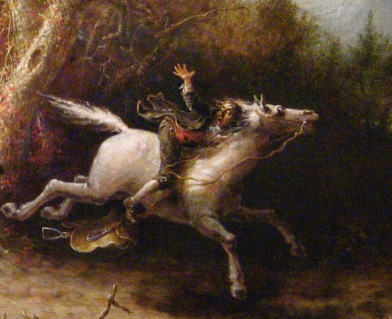 Out of control horse with rider. 1858. Headless Horseman by Quidor (USPD. pub.date, artist life, reprod of PD art/Commons.wikimedia.org)