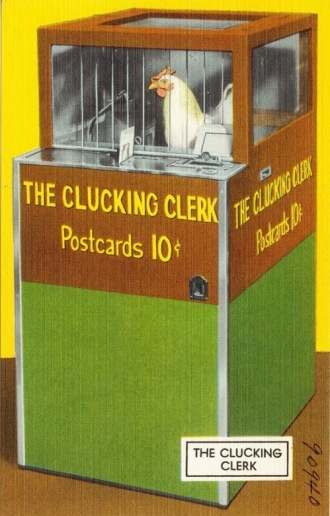 icken performer. The CLucking Clerk. (USPD: pub.date/TIchnor Brothers post card in Boston P.Lib/Commons.wikimedia.org)