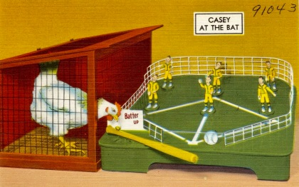 Chicken performer. Casey at the bat. Baseball game. TIchnor Brothers postcard (USPD. pub.date, artist life/Commons.wikimedia.org)