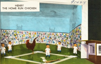 Chicken performer. Henry the Home run chicken. BAseball game TIchnor Brothers postcard (USPD: aretist life, pub.date/Commons.wikimedia.org)