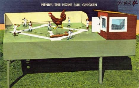 Performing chicken Baseball player Henry the Home Run Chicken. TIchnor Brothers. Boston Pub.Lib. (USPD: artist life, pub.date/Commons.wikimedia.org)