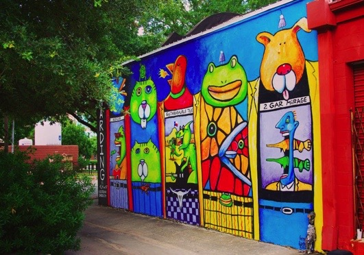 Bright cartoon animal mural (