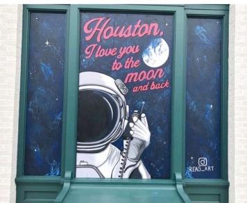 Astronauts love Houston street mural by Reagan Corbett. (Instagram Screenshot.Collen Baker/Hou.Chron)