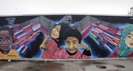 "Gulfton mural ""Celebration of Diversity"" by Jesus Sanchez. (Wyke Image/screenshot)"
