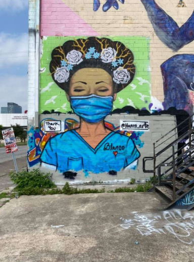 Street mural tribute to nurses during COVID pandemic (Nurse tribute (Sylvia Blanco Art/Facebook)
