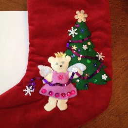 Christmas stocking with princess bear and Christmas tree in progress (© copyrighted design and image. NO permissions granted. ALL rights reserved.)