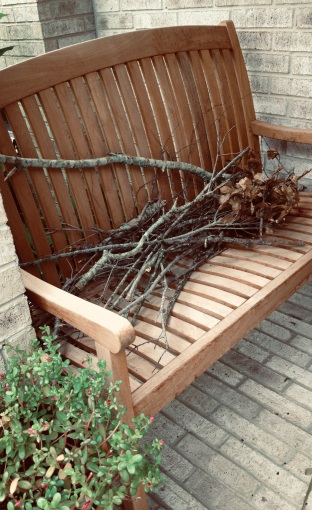 Teak bench on porch holding collected sticks (© image. Copyrighted, all rights reserve, no permissions granted)