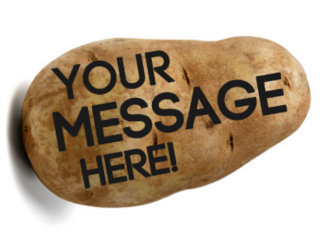 potato with a message (screenshot Potato Parcel)