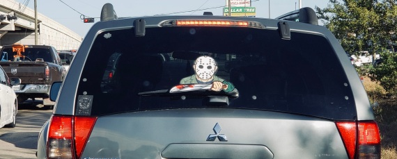 Mask. Spooky rear window decall (© image copyrighted, all rights reserved, NO permissions granted)