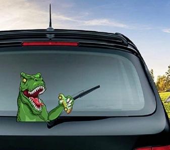 Dinosaur eating a car moving rear window wiper decal (Image MIYSNEIRN/Amazon)