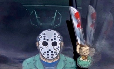 Hockey mask killer waving arm windshield wiper decal ( MIYSNEIRN/Amazon)