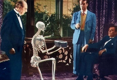 Skeleton holding box with 4 men in suits. Universal film. 1942, Night Monster (USPD: pub.date, artist life/Commons.wikimedia.org)