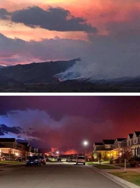 Morning. Oct 18, 2020. wild fire approaching neighborhood of friends in Longmont, CO. (© image. Copyrighted, no permissions granted. ALL rights reserved.)