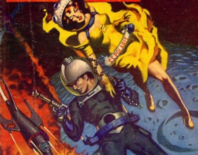 Astronaut couple in space. Cover of Planet Stories, MAy 1953 (USPD. pub.date, artist life/Commons.wikimedia.org)