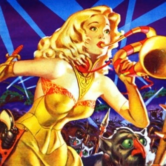 Armed space woman with trumpet and aliens. (Cover of Planet Stories, MAy 1952 by Anderson) (USPD. pub.date, artist life/Commons.wikimedia.org)