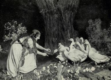 Goose Girl and her flock. 1916. Geraldin Farrar book. (USPD pub.date, artist life/COmmons.wikimedia.org)
