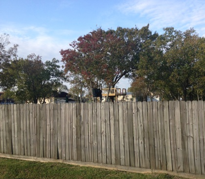 tree house behind fence. (© image, Copyrighted. all rights reserved. no permissions granted)