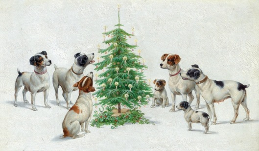 Dog surrounding a Christmas tree with candles ( 1918 Karl Reichert/ USPD. pub.date, artist life/Commons.wikimedia.org)