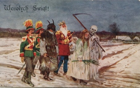 Christmas post card. 1929. Carollers in Poland (USPD. pub.date, artist life/Commons.wikimedia.org)