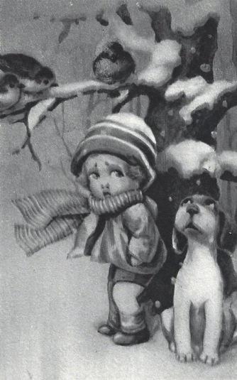 Child, dog, and bird in snow. Vintage Italian Christmas postcard. 1941 (USPD. pub.date, artist life/Commons.wikimedia.org)