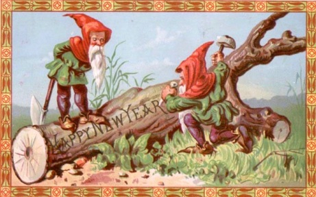 Elves carving tree with Happy New Year. Victorian circa 1885 (USPD artist life, pub.date/Commons.wikimedia.org)