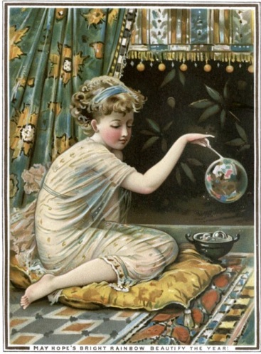 New Years postcard with girl and.bubble. 1877 Victorian. Lib.of Birmingham (USPD.pub.date, artist life/Commons.wikimedia.org)