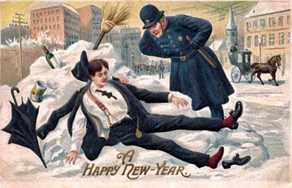 Drunk man in snowbank on New Year's postcard. 1912 (USPD.pub.date, artist life/Commons.wikimedia.org)